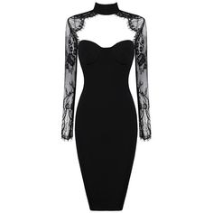 Lace Long Sleeve Bustier Midi Dress Black ($123) ❤ liked on Polyvore featuring dresses, gowns, long-sleeve midi dresses, lace evening dresses, lace dress, long sleeve ball gowns and bandage dress