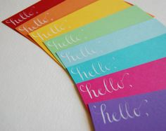 Hello Rainbow Note Cards Set of 8 with Envelopes by SwellandSwirl, $17.00