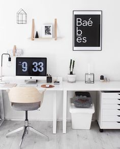 Our Yorkelee office space, Scandinavian style workspace inspo using our Baè wall…