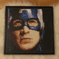 Captain America perler beads by nessiesbeads Perler Beads, Perler Bead Art, Fuse Beads, Hama Beads Design, Hama Beads Patterns, Beading Patterns, Marvel Avengers, Marvel Fan Art, Captain America