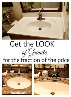 DIY: Faux Granite Countertops - great update for a bathroom!