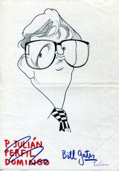 Artista: Loredano Título: Bill Gates Técnica: Tinta sobre papel / Blanco y negro Medidas: 20,6 x 29,7 cm  Personaje: Bill Gates Precio: 300€