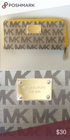 Michael Kors Jetset Zip Around Wallet *well loved* full size Wallet with yellow trim and signature MK print and gold plated hardware.  Some wear around the corners (pictured above) Michael Kors Bags Wallets