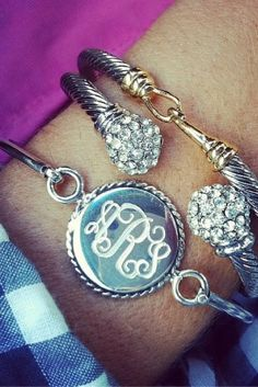 Our sterling silver monogram bracelet is the most luxurious way to personalize! Each custom monogram bracelet will feature your initials engraved into a sparkling round sterling silver setting with pretty rope detailing around the edge. Each of our monogrammed bracelets is made to order so please enter the initials or name to be monogrammed below. We are also glad to engrave greek letters or symbols. New! Now available with an optional thick 14kt Gold Plating.  When monogrammed, your...