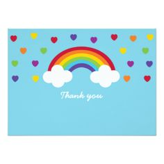 El arco iris le agradece las tarjetas invitación 11,4 x 15,8 cm