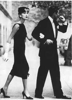 Black cocktail dress by Yves St. Laurent for Dior, 1958