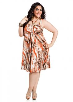 Ashley Stewart: Web Exclusive: Embellished Front Abstract Print Plus Size Dress