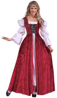 Medieval Lady Red Lace-up Adult Costume - Renaissance Or Medieval Costumes sale: $35.53