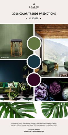 Stunning Pantone Color trends you must to know! We present you 4 Pantone colour trends that seem to have the same matte base. Color Trends 2018, 2018 Color, Interior Design Trends, Luxury Interior, Contemporary Interior, Green Interior Design, Color Interior, Colour Schemes, Color Palettes