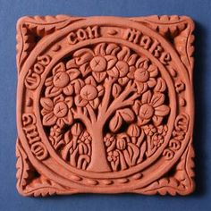 Orange Tree by William Morris mounted on blue card