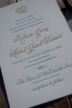 Dancing Pen and Press Monogram Letterpress Invitations