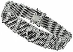 Estate_3.00ct_Diamond_Heart_Mesh_Bracelet | New York Estate Jewelry | Israel Rose