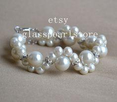 Avorio perla bracciale bracciale di perle di vetro bracciale