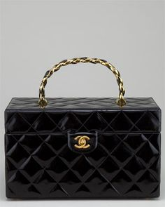Chanel Black Patent Vanity Case Bag