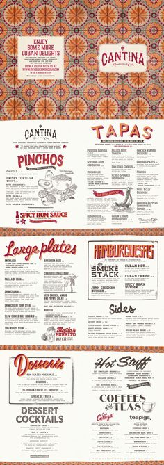 Cuban Food Menu, Graphic Design, Illustration, Typography, Pattern Design by…