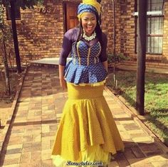 The shweshwe fashion the latest trends from south Africa - Reny styles Xhosa Attire, African Attire, African Wear, African Style, Setswana Traditional Dresses, African Fashion Traditional, Traditional Wedding, African Dresses For Women, African Print Dresses