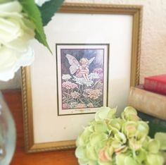 Vintage Candytuft Fairy Print Cicely Mary Barker Framed Illustration Picture Wall art nursery bedroom pink purple by WonderCabinetArts