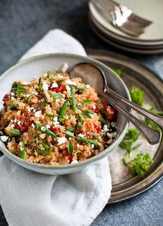 Quinoa with Sweet Tomatoes - Green Beans - Basil - sea salt - quinoa - fresh green bean - firm sweet cherry tomatoes - olive oil - 3 garlic cloves - fresh basil