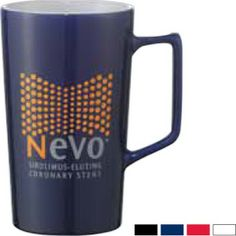 "Replenish interest in your company with this customizable ceramic mug. Perfect for a corporate giveaway at a party or convention, this mug features a wide integrated handle and has the capacity to hold 20 oz. of your favorite beverage. Four attractive colors to choose from, this mug features a glossy two tone finish. Dishwasher and microwave safe, a convenient gift box is included for presentation. Measures 6"" H x 0"" L x 3"" D."