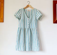 Aqua stripe Linen summer day dress by Pyne & Smith Clothiers.