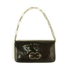 Escada Black Patent Leather Zip Around Chain Shoulder Bag Clutch Handbag  Purse Small Shoulder Bag 3ce8a2240a3c9