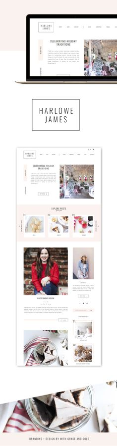 Branding and Web Design for Chrissy McDonald of Harlowe James   With Grace and Gold   Branding and Web Design for Creative Women in Business.