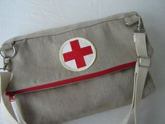 Re-Purposed Vintage Canvas Clutch Fold-Over/Shoulder Bag with Vintage Red Cross Patch Vintage Bag, Vintage Canvas, Cross Patch, American Red Cross, Charity, Thrifting, Anatomy, Messenger Bag, Goodies