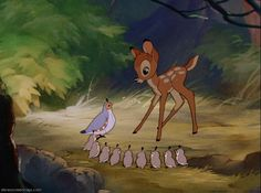 Screencap Gallery for Bambi Bluray, Disney Classics). The animated story of Bambi, a young deer hailed as the 'Prince of the Forest' at his birth. As Bambi grows, he makes friends with the other animals of Disney Cartoon Movies, Disney Cartoons, Disney Beauty And The Beast, Disney And More, Disney Magic, Disney Art, Disney Birds, Bambi 1942, Bambi 3