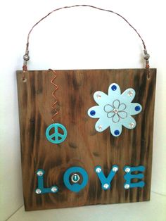 Love and Peace Wood and Copper Glam Plaque by projectsbyGnG on Etsy