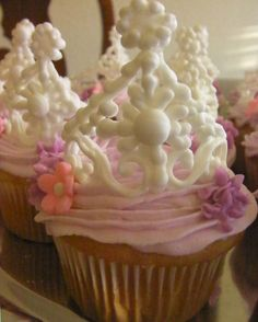 Princess Tiara Cup Cakes  ~ Royal Icing tiara ion top of Vanilla Cupcakes