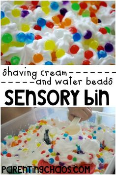 Shaving Cream and Water Beads Sensory Bin: Over the last month we have been exploring different ways to play with water beads and our beads are finally reaching the point where they are just about ready to head to the garbage. Wanting to squeeze one last fun activity out of them we mixed our water beads with another one of our sensory favorites — shaving cream! The sensory bin experiment turned out awesome and was a huge hit with the kids!