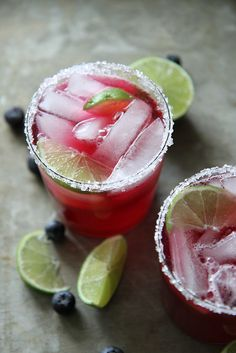 Blueberry Lime Margaritas from HeatherChristo.com