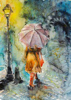 Walk Painting - Walk At Night by Kovacs Anna Brigitta