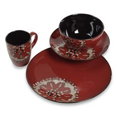 TTU Gallery 16-Piece Beads Reactive-Glaze Dinnerware Set - Hibiscus