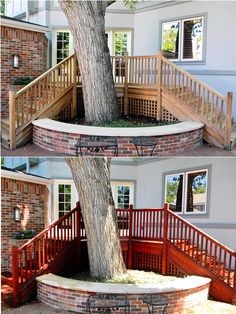 Before and After of a teak deck refinished and stained with Armstrong Clarke Mahogany Hardwood stain.