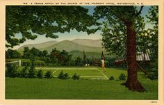 Vintage postcard of a tennis match at The Piedmont Hotel in Waynesville, North Carolina. On sale for $4 from Vintage Postcard Boutique.
