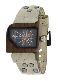 Mistura Pellicano Wooden Unisex Watch Hollister Leather Band Ebony Wood Dial
