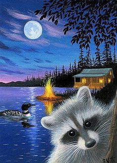 Raccoon-loon-cabin-lake-moon-summer-night-landscape-original-aceo-painting-art