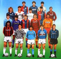 The Italian League Serie A had some top players in Old Football Shirts, Sports Football, Best Football Players, Retro Football, Football Design, Vintage Football, Sports Stars, Soccer Players, Soccer Shirts