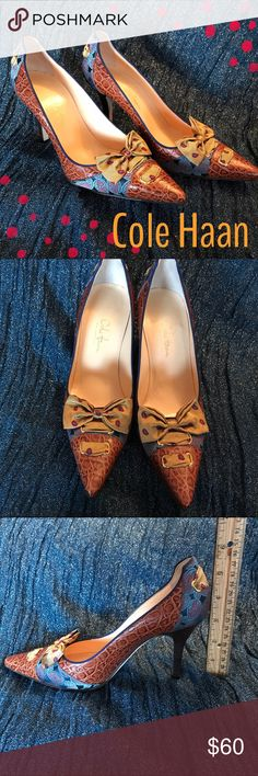 Cole Haan Pumps.  Satin and Alligator. These are some of the most beautiful shoes I have ever seen.  The colors and textiles are amazing and the quality is the absolute best.  You will love these statement shoes!! Cole Haan Shoes Heels