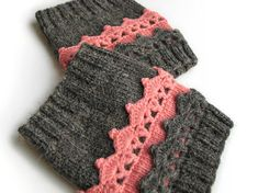 Hand Knitted Openwork Boot Cuffs by milleta on Etsy