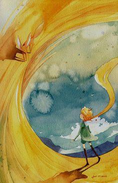 Le Petit Prince, Saint-Exupéry - illustration So Ri Yoon Art And Illustration, Illustrations Posters, Inspiration Art, The Little Prince, The Petit Prince, Art Design, Oeuvre D'art, Watercolor Art, Illustrators