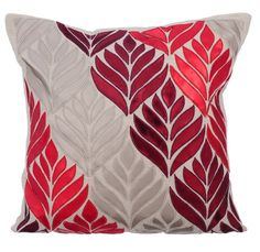 Natural Linen Decorative Throw Pillow Covers Pillow Couch Linen Pillow Case 16x16 Cranberry Red Leather Applique Pillow Cover Cherry Maple  ________________________________________________________________________    This pillow cover is made using a natural beige color linen appliqued with faux Cranberry Red, Red, & Silver Leather.    The back of the pillow is made using the same natural beige linen fabric with a concealed covered zipper for a clean look and easy removal.    Pillow Cover…