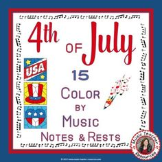 Reinforce and review music theory note and rest names with these colorful music worksheets: COLOR by MUSIC NOTES and RESTS. Excellent for your 4th of July Music Lessons and they will make a beautiful display in your music classroom