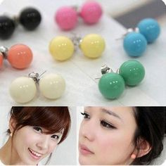 Candy Color Acrylic Round Ball Beads Ear Stud Earrings Jewelry Cute Stud Earrings Fashion Ear Stud Earing Ear Acc For Summer Dress Jewellry Online with $0.23/Pair on Worldfashionoutlet's Store | DHgate.com