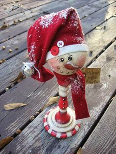 Painted candy cane Snowman from wood candlestick
