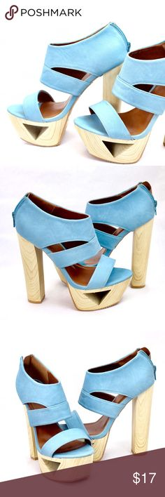 Blue Qupid Heels! Size: 7.5 Heel Height: Approx 6 inches Platform: Approx 2 inches Only worn a handful of times.  Very cute blue color and wood finished heels!  **These are actual pics of the heels.** Qupid Shoes Heels