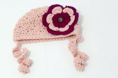 Baby Girl Hat with Curly Q's / Newborn / Soft Pink by MeganFallow, $20.00