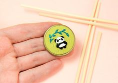 Embroidery Panda Necklace / Brooch Panda Brooch Hand Embroidered Panda Pin Black White Green Handmade Animal Jewelry Pop Jewelry by manaraya on Etsy Embroidery Jewelry, Hand Embroidery Designs, Embroidery Art, Embroidery Stitches, Embroidery Patterns, Gifts For Pet Lovers, Gift For Lover, Cute Panda, Tiny Panda