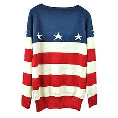 Los hombres de moda de la bandera americana Estrella raya Pullover Jumper Loose Top Lovers Knit Sweater - EUR € 12.86